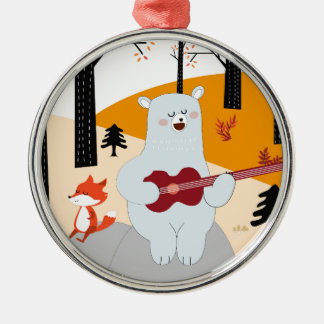 Ornamento De Metal Bonito cante um lobo da raposa da canção do verão
