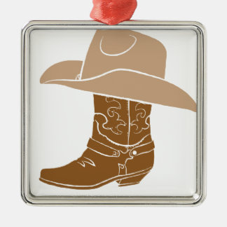 Ornamento De Metal Bota e chapéu de vaqueiro