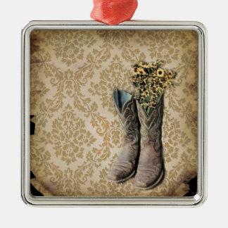 Ornamento De Metal Botas de vaqueiro do país ocidental do wildflower