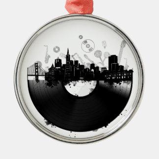 Ornamento De Metal branco do vinil da skyline da cidade de San