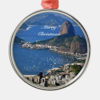 Ornamento De Metal Brasil: Paisagem de Rio de Janeiro - Feliz Natal