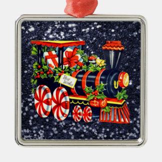 Ornamento De Metal Brilho azul do falso do trem de Choo Choo do Natal