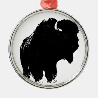 Ornamento De Metal Búfalo preto & branco do bisonte do pop art