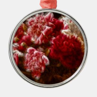 Ornamento De Metal Buquê vermelho flamejante da flor da peônia