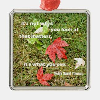 Ornamento De Metal byThoreau das citações: Não é o que você olha