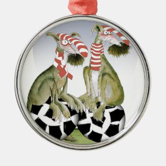 Ornamento De Metal cães do futebol dos vermelhos quando sábado vier