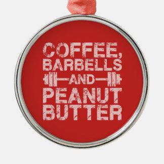 Ornamento De Metal Café, Barbells e manteiga de amendoim - exercício