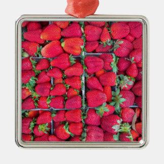 Ornamento De Metal Caixas enchidas com as morangos vermelhas