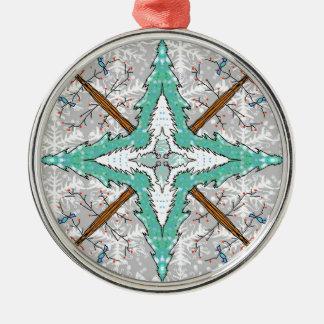 Ornamento De Metal Caleidoscópio de árvores do inverno