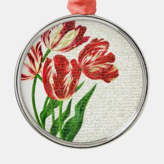 Ornamento De Metal Caligrafia vermelha das tulipas
