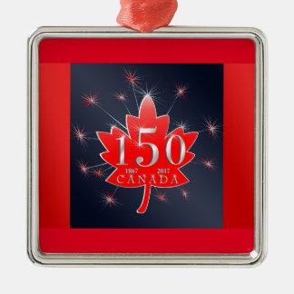 Ornamento De Metal Canadá folha de bordo de uma celebração de 150