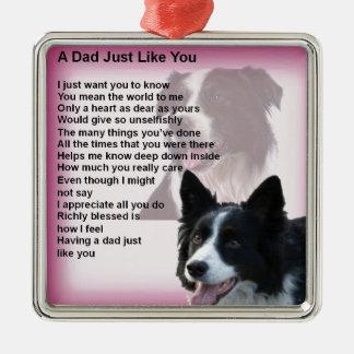 Ornamento De Metal Cão de border collie - poema do pai