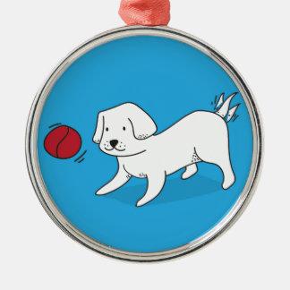 Ornamento De Metal Cão que joga com uma bola