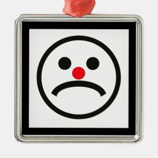 Ornamento De Metal Cara de vista triste com o nariz vermelho