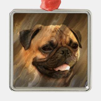 Ornamento De Metal Cara do Pug