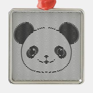 Ornamento De Metal Cara do urso de panda no teste padrão de onda