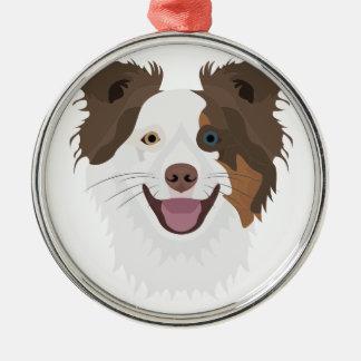 Ornamento De Metal Cara feliz border collie dos cães da ilustração
