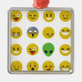 Ornamento De Metal Cara feliz de Emoji