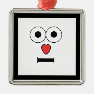 Ornamento De Metal Cara surpreendida com nariz do coração