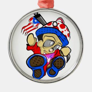 Ornamento De Metal Caráter bonito de Puerto Rico com bandeira