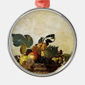 Ornamento De Metal Caravaggio - cesta da fruta - trabalhos de arte