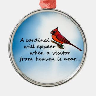 Ornamento De Metal Cardeal, visitante do céu