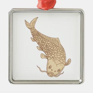 Ornamento De Metal Carpa de Koi Nishikigoi que mergulha abaixo do