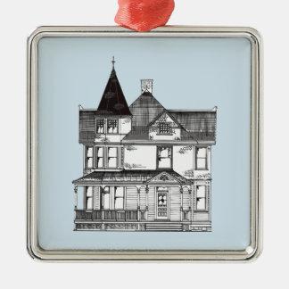 Ornamento De Metal Casa do Victorian (preto e branco)