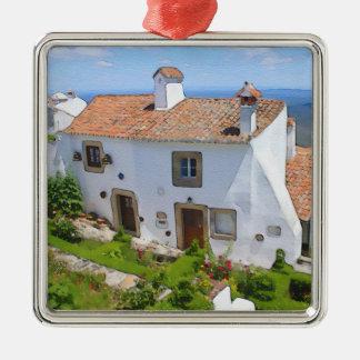 Ornamento De Metal Casa mediterrânea da aguarela