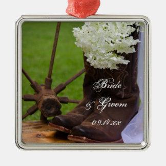 Ornamento De Metal Casamento ocidental rústico das botas do Hydrangea
