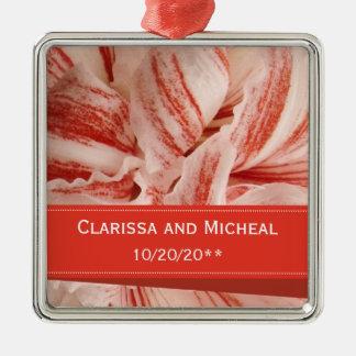 Ornamento De Metal Casamento personalizado pétalas do Amaryllis