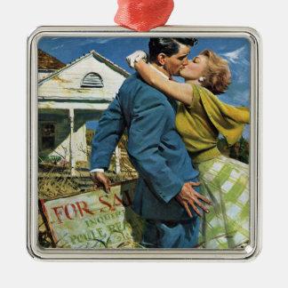 Ornamento De Metal Casamento vintage, casa do comprar dos Newlyweds