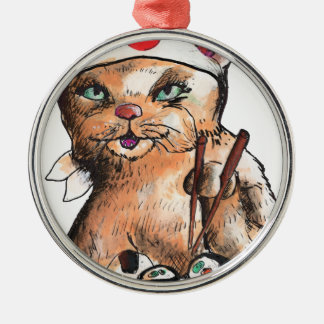 Ornamento De Metal cat eating sushi