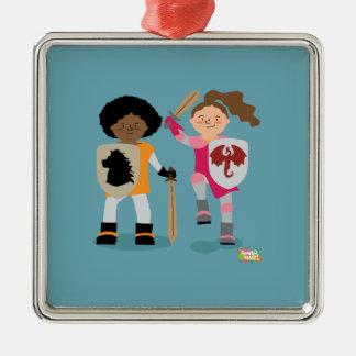 Ornamento De Metal Cavaleiro das meninas para fora