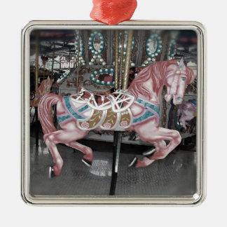 Ornamento De Metal Cavalo cor-de-rosa do carrossel