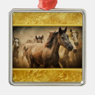 Ornamento De Metal Cavalo de um quarto americano com um design da