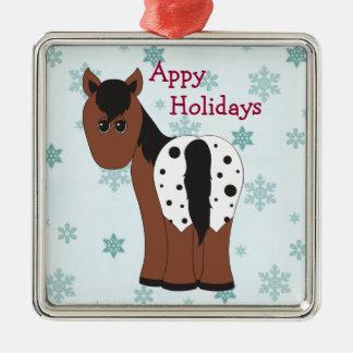 Ornamento De Metal Cavalo geral do Appaloosa dos feriados felizes