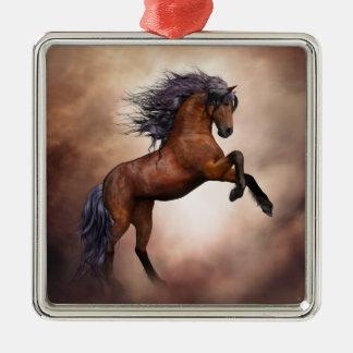 Ornamento De Metal Cavalo marrom do frisão que eleva acima com nuvens