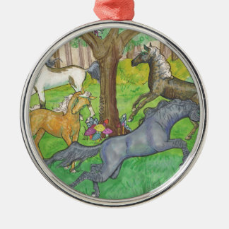 Ornamento De Metal Cavalos de galope do mustang em pôneis das árvores
