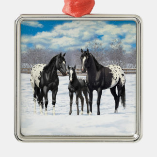Ornamento De Metal Cavalos pretos do Appaloosa na neve