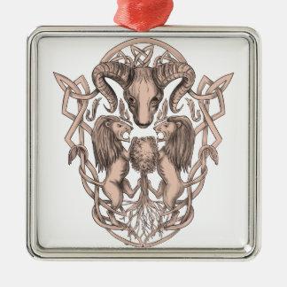 Ornamento De Metal Céltico Knotwo da brasão da árvore do leão dos