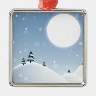Ornamento De Metal Cena da neve do inverno