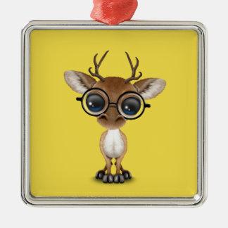 Ornamento De Metal Cervos Nerdy do bebê que vestem vidros