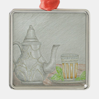 Ornamento De Metal chá com hortelã