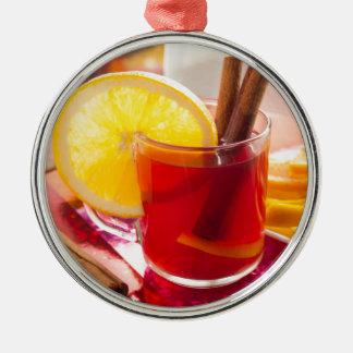 Ornamento De Metal Chá do citrino da fruta com canela e laranja