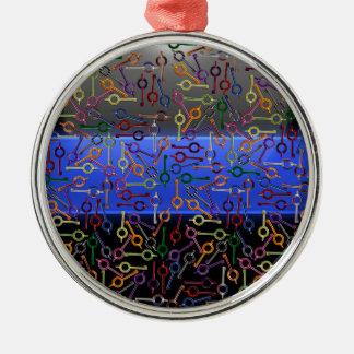 Ornamento De Metal Chaves coloridas finas da algema de Blue Line