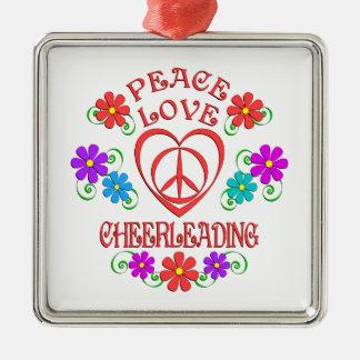 Ornamento De Metal Cheerleading do amor da paz