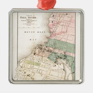 Ornamento De Metal Cidade mapa de Fall River, Massachusetts (1874)