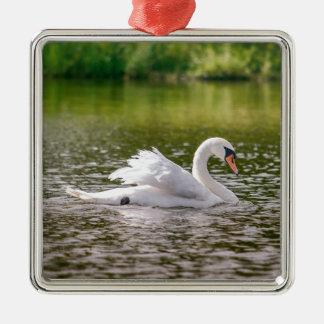 Ornamento De Metal Cisne branca em um lago