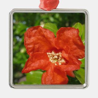 Ornamento De Metal Close up da flor vermelha da romã